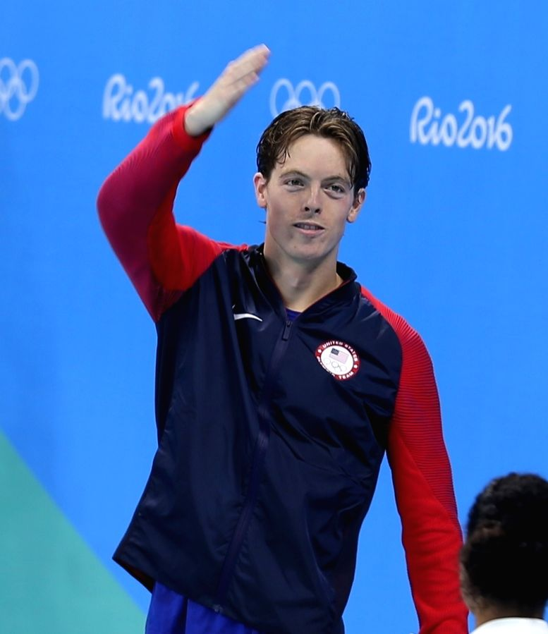 Rio De Janeiro: Connor Jaeger  of US who won  silver medal in Men's 1500m Freestyle at Rio 2016 Olympics during the presentation ceremony in Rio de Janeiro, Brazil on Aug 14, 2016.