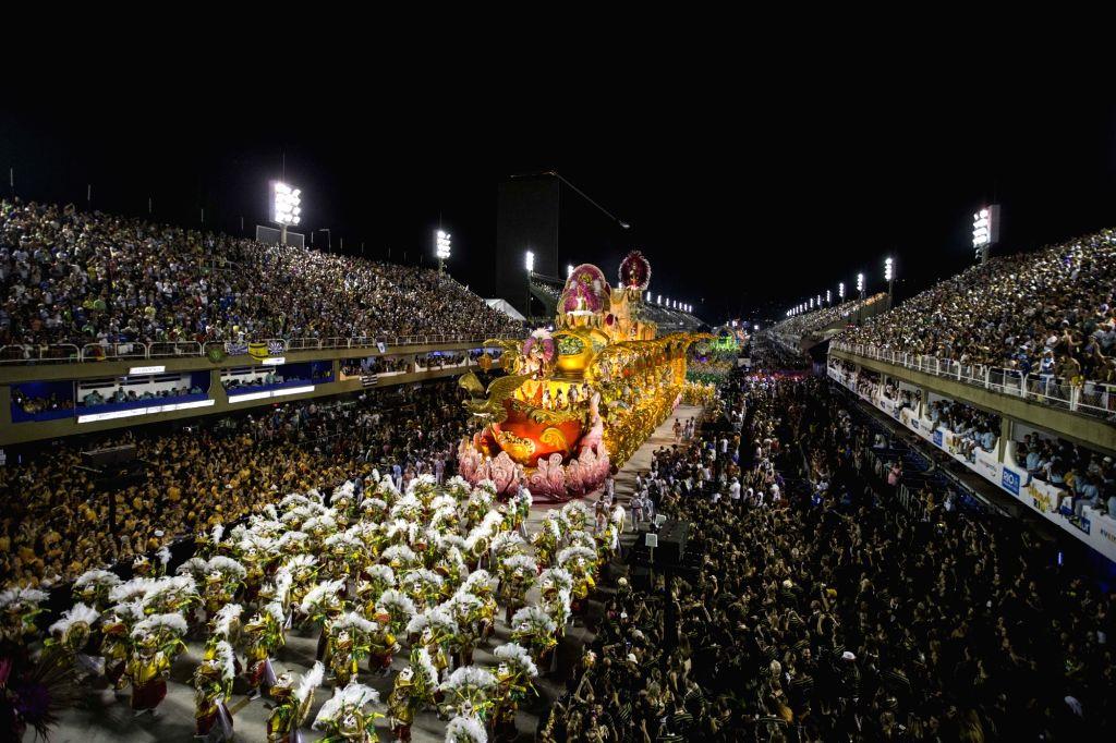RIO DE JANEIRO, Feb. 13, 2018 - A float participates in the parade of the Carnival at the Sambadrome in Rio de Janeiro, Brazil, on Feb. 13, 2018. The parade of special group samba school at the Rio ...