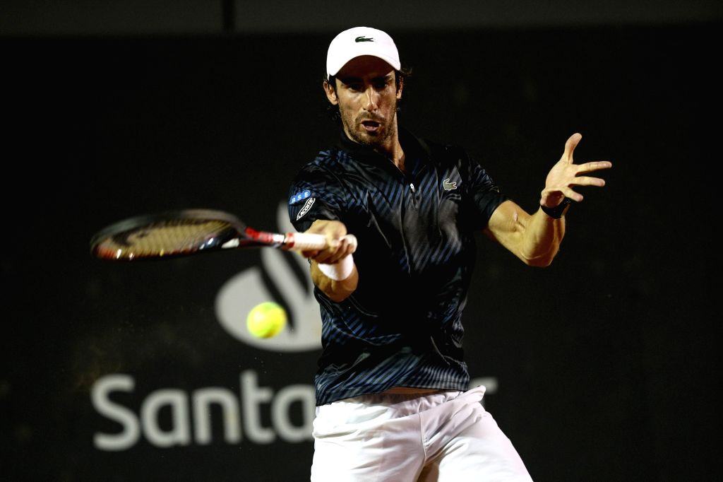 RIO DE JANEIRO, Feb. 24, 2019 - Pablo Cuevas of Uruguay hits a return during the men's singles semifinal between Felix Auger-Aliassime of Canada and Pablo Cuevas of Uruguay at the Rio open 2019 ...