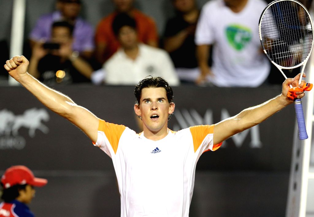 RIO DE JANEIRO, Feb. 27, 2017 - Dominic Thiem of Austria celebrates after winning the singles final against Pablo Carreno Busta of Spain at the 2017 ATP Rio Open tennis tournament held at the ...