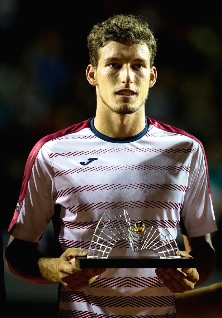 RIO DE JANEIRO, Feb. 27, 2017 - Pablo Carreno Busta of Spain poses for photograph during the awarding ceremony of the singles final against Dominic Thiem of Austria at the 2017 ATP Rio Open tennis ...