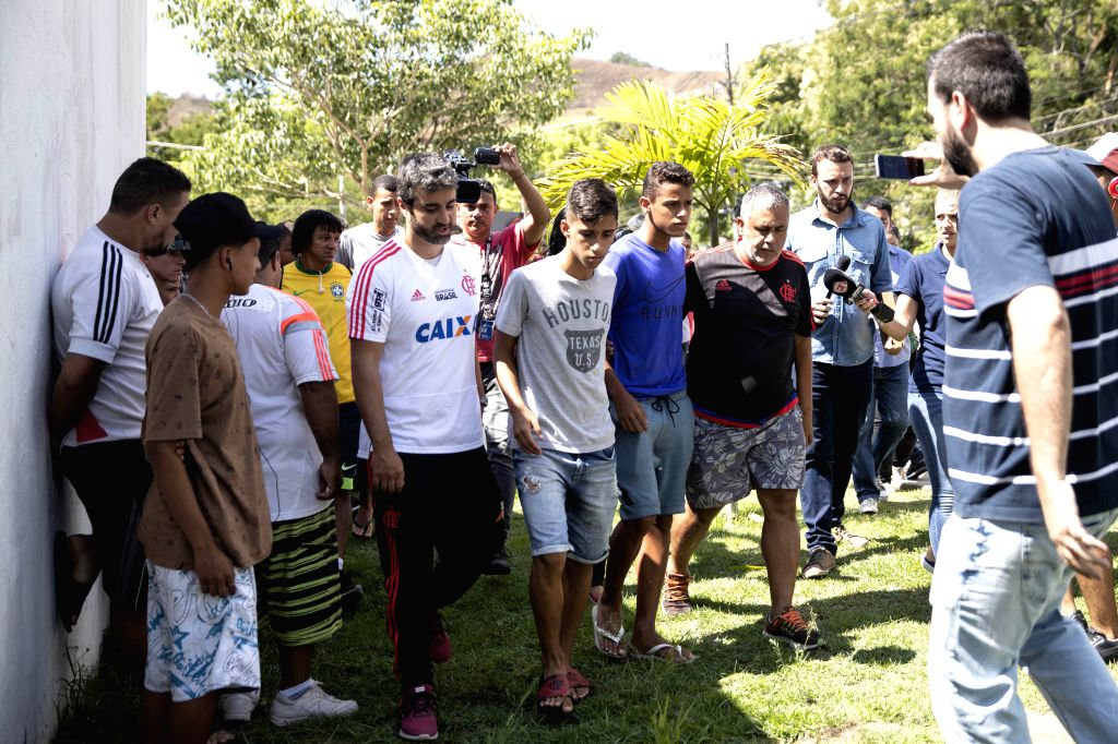 RIO DE JANEIRO, Feb. 8, 2019 - Working staff and footballers of Flamengo football club are seen in Rio de Janeiro, Brazil, Feb. 8, 2019. At least 10 players were killed and three others injured early ...