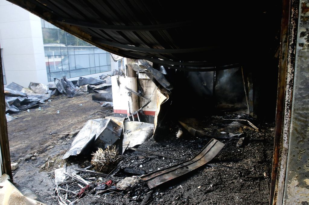 RIO DE JANEIRO, Feb. 8, 2019 (Xinhua) -- The debris is seen at the site of a fire in a training center at Flamengo football club in Rio de Janeiro, Brazil, on Feb. 8, 2019. At least 10 players were killed and three others injured early Friday morning
