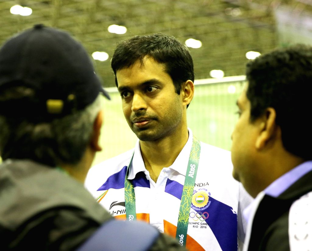 Rio de Janeiro: Indian badminton coach P. Gopichand speaking to the media after the match between P.V. Sindhu and Tai Tzu-ying of Chinese Taipei at Rio Olympics in Rio de Janeiro on Aug. 15, 2016.