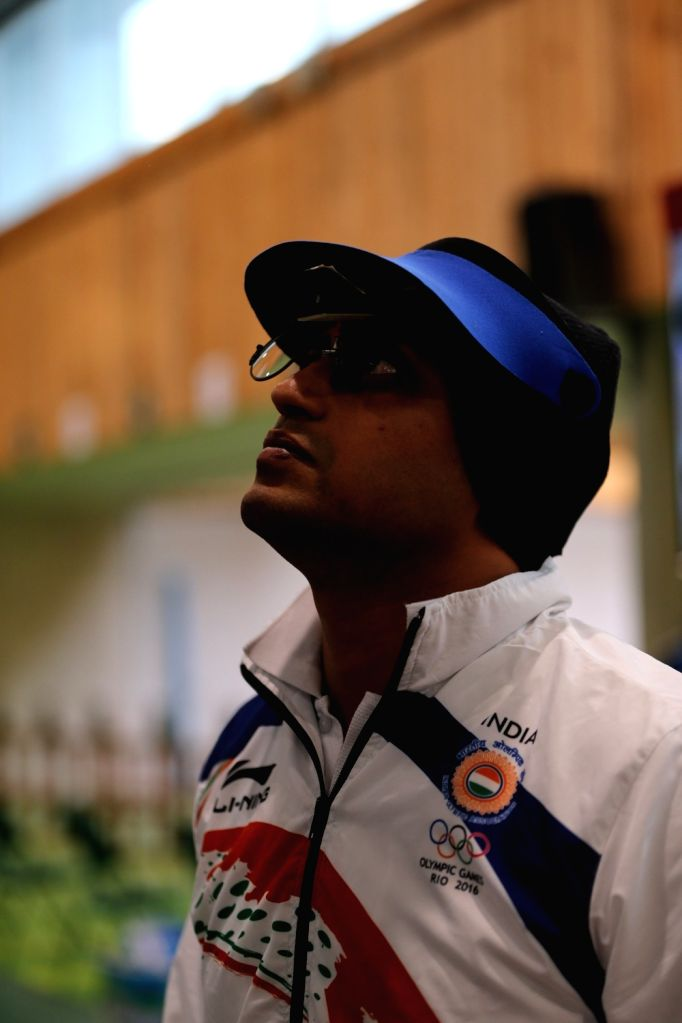 Rio de Janeiro: Indian shooter Prakash Nanjappa  in action in 50 metre Pistol Men's event at the Olympic Shooting centre in Rio de Janeiro, on Aug. 11, 2016.