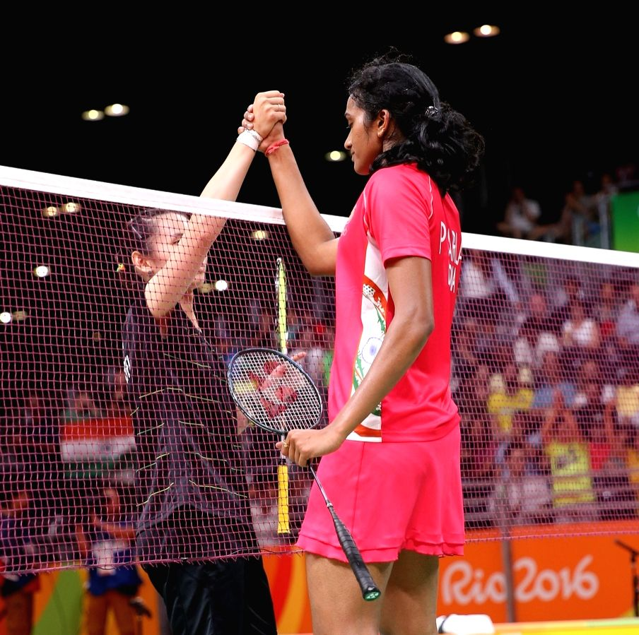 Rio de Janeiro: Indian shuttler P.V. Sindhu in action against Tai Tzu-ying of Chinese Taipei at Rio Olympics in Rio de Janeiro on Aug. 15, 2016. P.V. Sindhu entered the quarter-finals of the women`s ...
