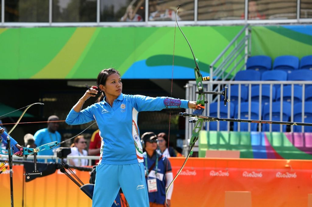 Rio De Janeiro: Indian women archer Bombayla Devi in action against Russia in the quarter-finals at the Olympic archery stadium in Rio de Janeiro on Aug. 7, 2016.  The Indian women's archery team crashed out of the Rio Olympics after losing to Russia