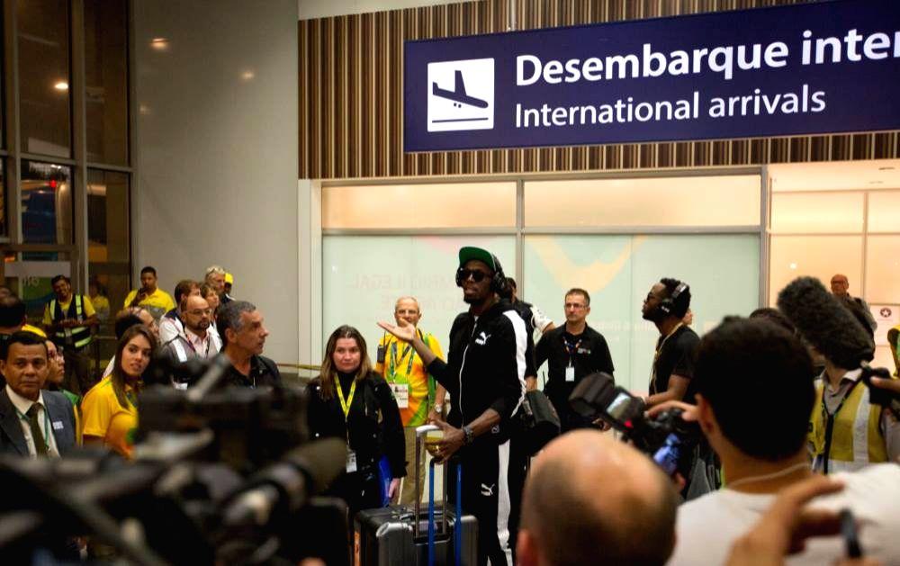 Rio De Janeiro: Jamaican sprinter Usain Bolt arrives Rio's international airport.