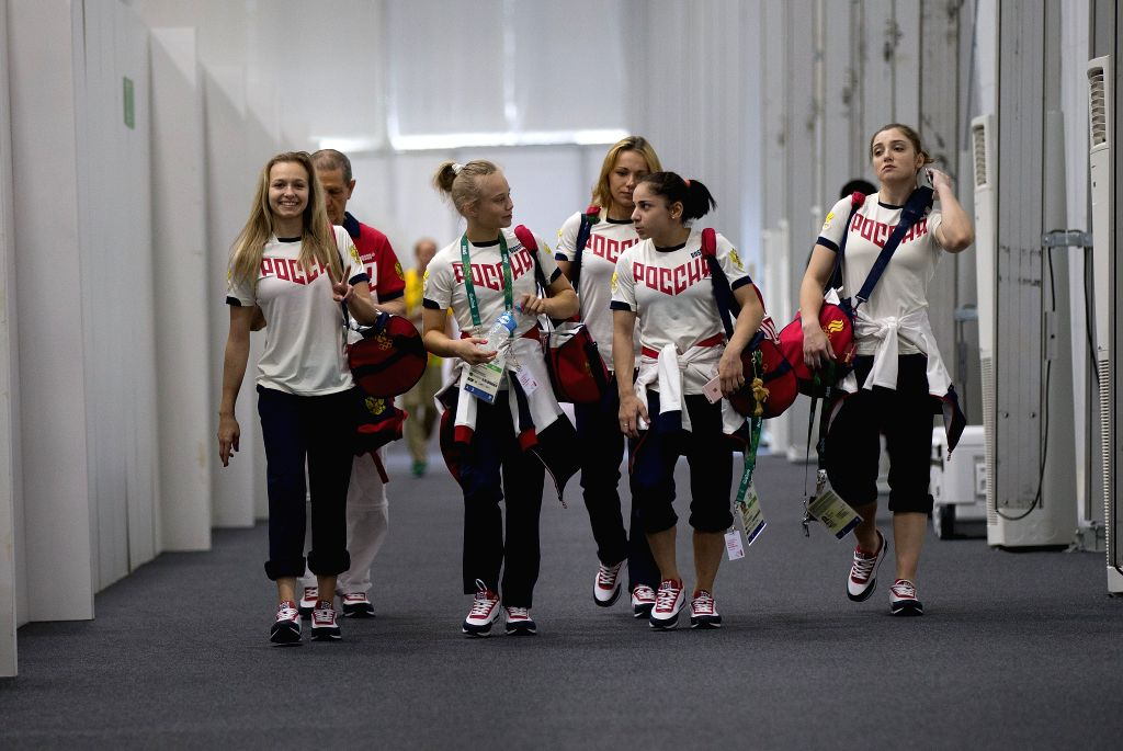 RIO DE JANEIRO, July 27, 2016 - Artistic gymnastics athletes Daria Spiridonova, Angelina Melnikova, Maria Paseka, Seda Tutkhalian, Aliya Mustafina (L-R) of Russia leave after a training session for ...