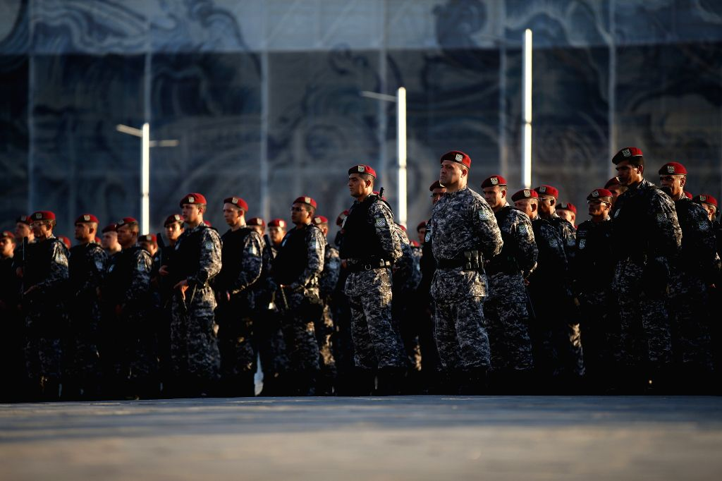 RIO DE JANEIRO, July, 6, 2016 (XINHUA)A total of 700 National Force officers attend the inauguration ceremony of the integrated security operation for Rio 2016 Games at Barra Olympic Park in Rio ...
