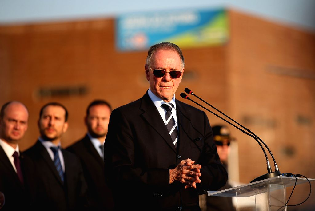RIO DE JANEIRO, July, 6, 2016 (XINHUA)Carlos Arthur Nuzman (front), president of the Rio 2016 Organising Committee for the Olympic and Paralympic Games, addresses the inauguration ceremony of the ...