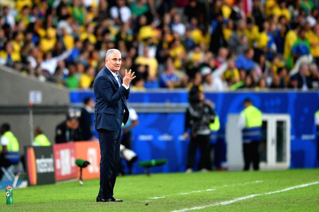 RIO DE JANEIRO, July 8, 2019 (Xinhua) -- Brazil's head coach Tite reacts during the Copa America 2019 final match between Brazil and Peru, held in Rio de Janeiro, Brazil, July 7, 2019. Brazil won 3-1. (Xinhua/Xin Yuewei/IANS)