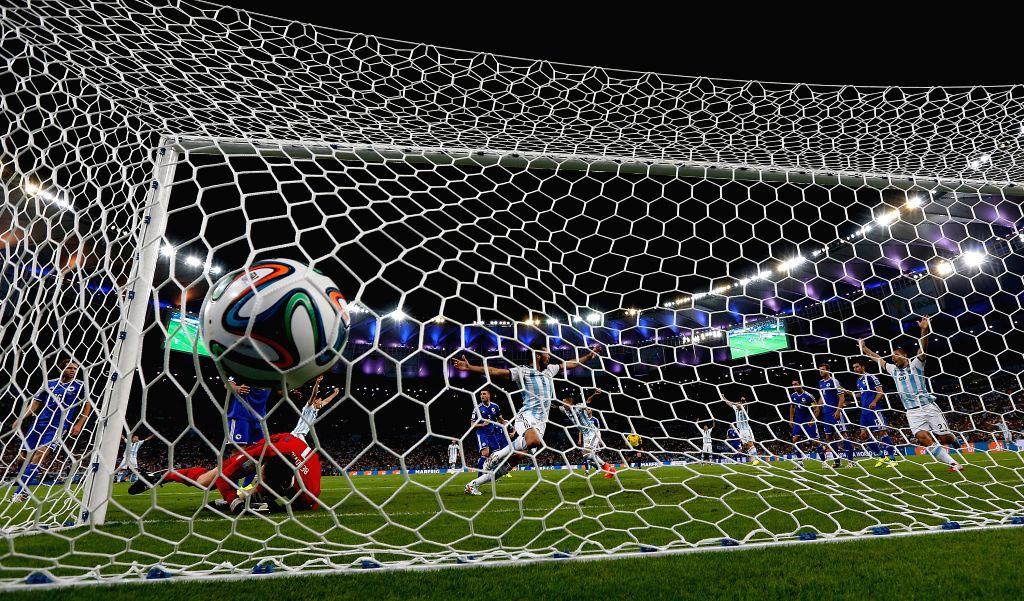 Argentina scores a second goal during a Group F match between Argentina and Bosnia and Herzegovina of 2014 FIFA World Cup at the Estadio de Maracana Stadium .