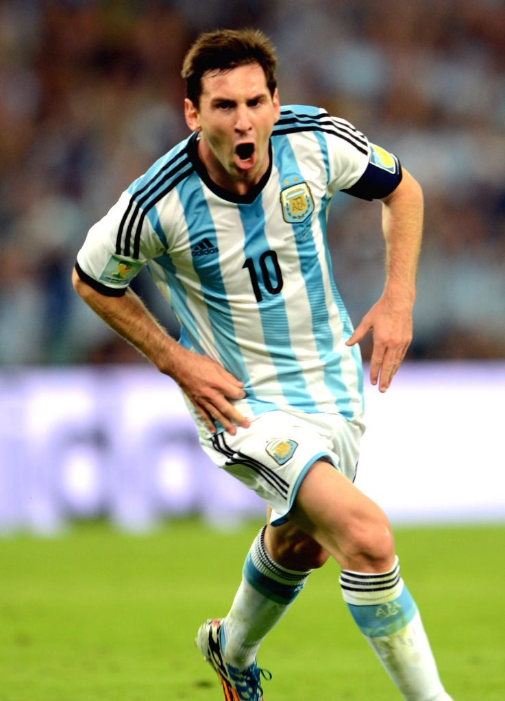 Argentina's Lionel Messi celebrates for his goal during a Group F match between Argentina and Bosnia and Herzegovina of 2014 FIFA World Cup at the Estadio de
