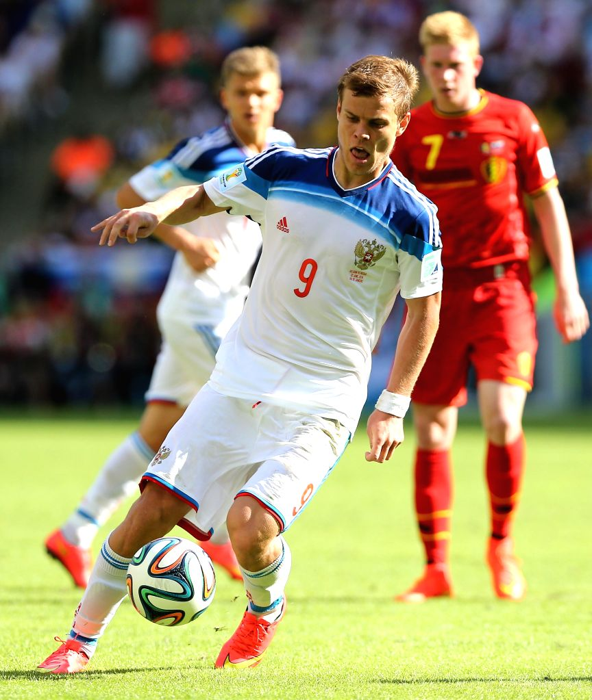 Russia's Aleksandr Kokorin controls the ball during a Group H match between Belgium and Russia of 2014 FIFA World Cup at the Estadio do Maracana Stadium in Rio .