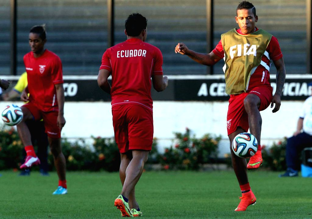 Players of Ecuador's national soccer team take part in a training session in Rio de Janeiro, Brazil, on June 24, 2014. Ecuador will play with France on ...