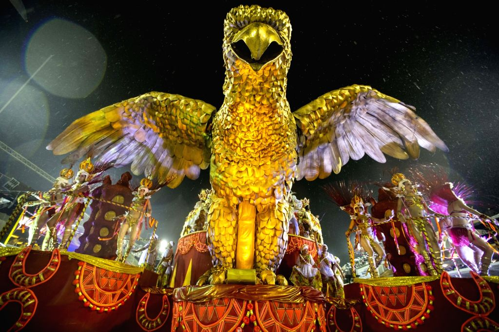 RIO DE JANEIRO, March 2, 2019 - Revelers perform on a float during the parades of the Carnival at the Sambadrome in Rio de Janeiro, Brazil, on March 2, 2019. The Rio Carnival 2019 was postponed by ...