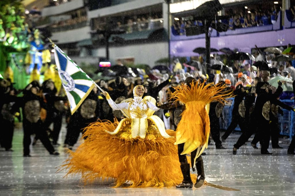 RIO DE JANEIRO, March 2, 2019 - The flag bearers of the samba school attend the parades of the Carnival at the Sambadrome in Rio de Janeiro, Brazil, on March 2, 2019. The Rio Carnival 2019 was ...