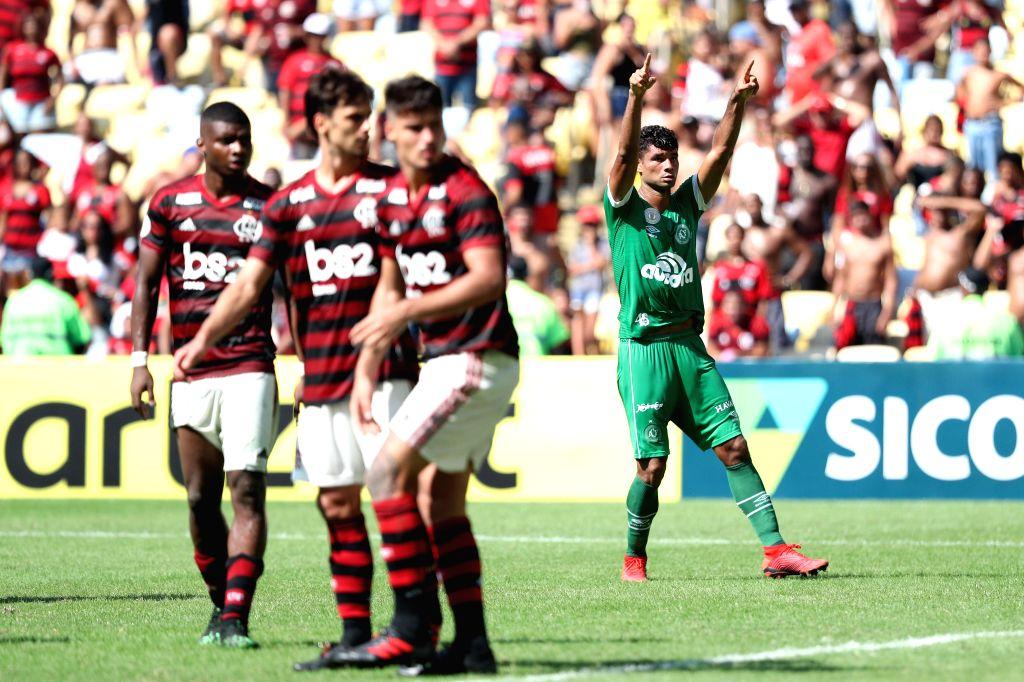 RIO DE JANEIRO, May 13, 2019 - Gum (1st R) of Chapecoense celebrates his goal during the 2019 Brazilian Serie A 4th round match between Flamengo and Chapecoense at the Maracana stadium in Rio de ...