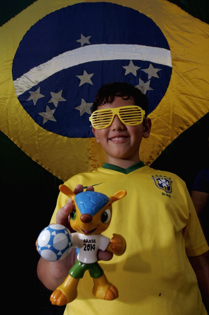 A boy shows a figure of official mascot Fuleco in the Santa Clara alley in the city of Niteroi in the state of Rio de Janeiro, Brazil, on May 4, 2014. The ...
