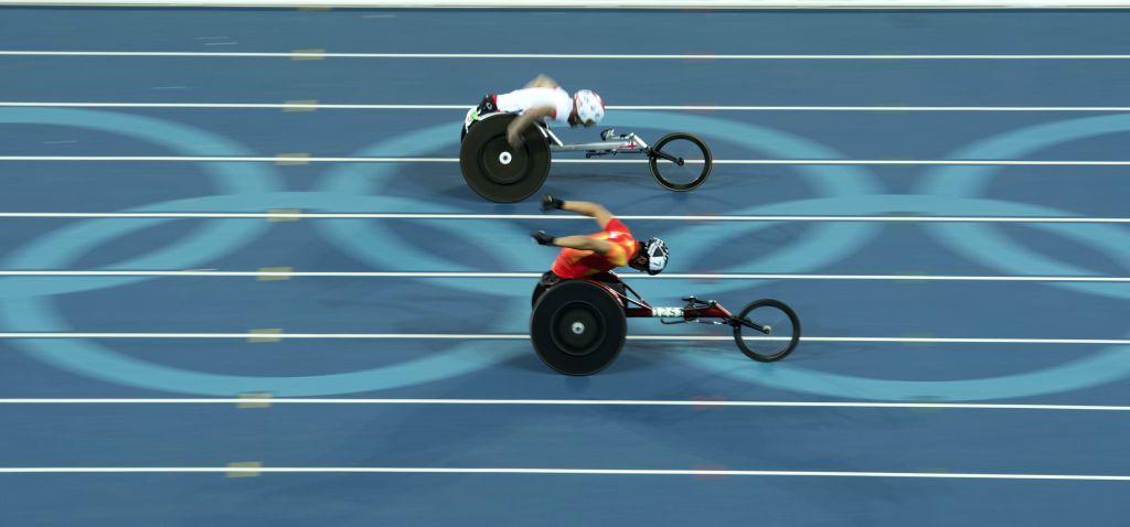RIO DE JANEIRO, Sept. 12, 2016 - Athletes compete during the men's 400m T54 heat at the 2016 Rio Paralympic Games in Rio de Janeiro, Brazil, Sept. 11, 2016.
