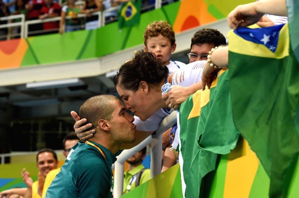 RIO DE JANEIRO, Sept. 13, 2016 - Daniel Dias  celebrates after the men's 50m freestyle S5 final of swimming event at the 2016 Rio Paralympic Games in Rio de Janeiro, Brazil, Sept. 12, 2016.