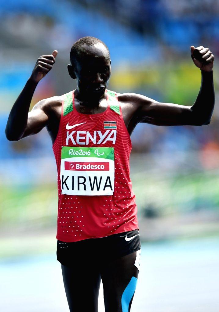 RIO DE JANEIRO, Sept. 15, 2016 - Henry Kirwa of Kenya celebrates after winning the men's 5000m T13 final of athletics at the 2016 Rio Paralympic Games in Rio de Janeiro, Brazil, Sept. 15, 2016. Kirwa ...
