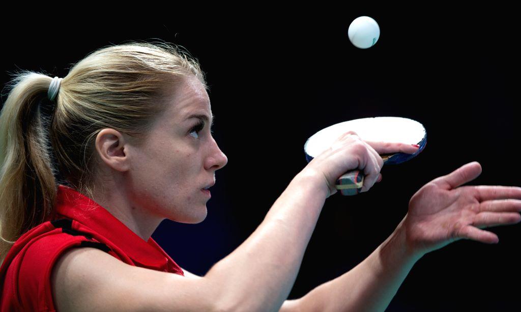 RIO DE JANEIRO, Sept. 17, 2016 - Croatia's Andela Muzinic serves during the women's team class 1-3 final of table tennis event against China at the 2016 Rio Paralympic Games in Rio de Janeiro, ...