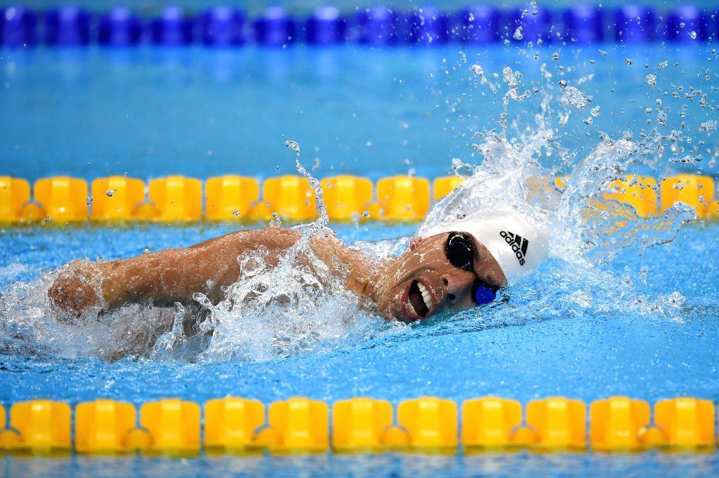 RIO DE JANEIRO, Sept. 18, 2016 - Daniel Dias of Brazil competes during Men's 100m Freestyle S5 Final of swimming event at the 2016 Rio Paralympic Games in Rio de Janeiro, Brazil, Sept. 17, 2016. ...
