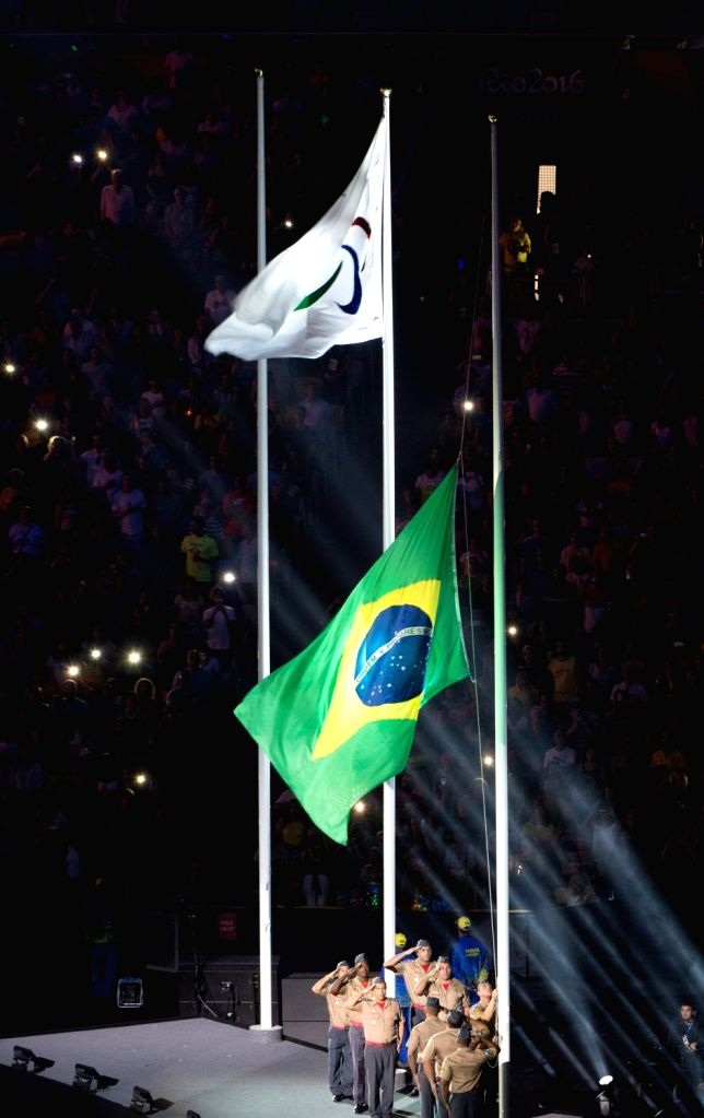 RIO DE JANEIRO, Sept. 19, 2016 - Brazil's national flag is raised during the closing ceremony of the Rio 2016 Paralympic Games at the Maracana Stadium in Rio de Janeiro, Brazil, on Sept. 18, 2016.