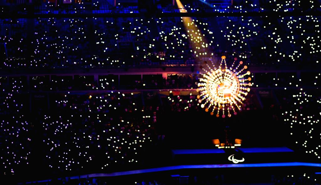 RIO DE JANEIRO, Sept. 19, 2016 - The Olympic flame is seen during the closing ceremony of the Rio 2016 Paralympic Games at the Maracana Stadium in Rio de Janeiro, Brazil, on Sept. 18, 2016.