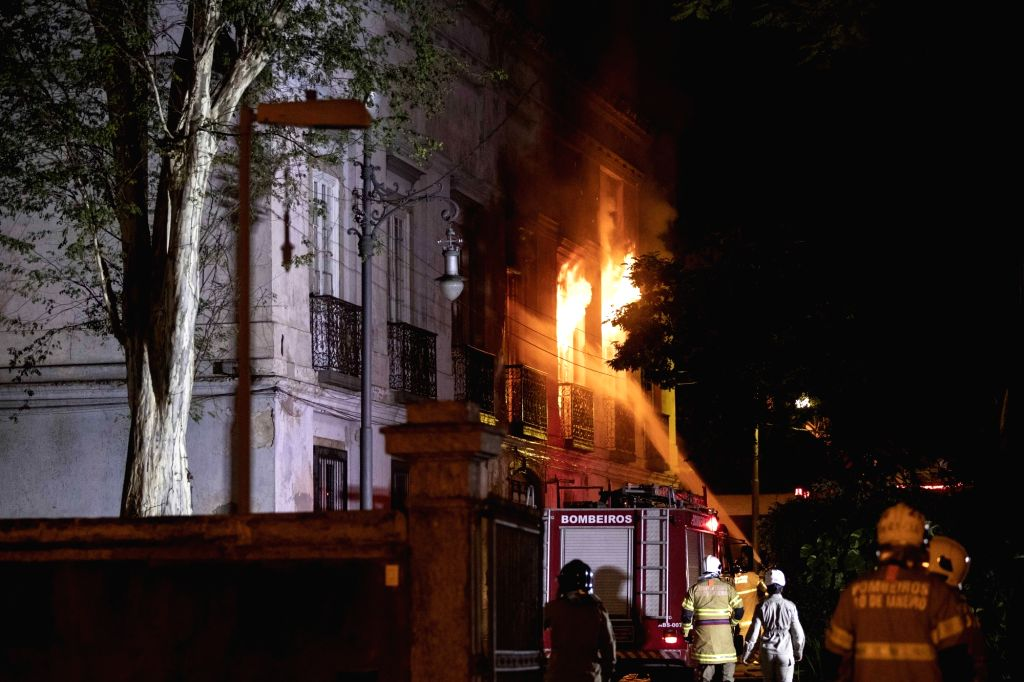 RIO DE JANEIRO, Sept. 3, 2018 - Firefighters try to put out a fire at the National Museum of Brazil in Rio de Janeiro, Brazil, Sept. 2, 2018. A massive fire on late Sunday raced through Brazil's ...