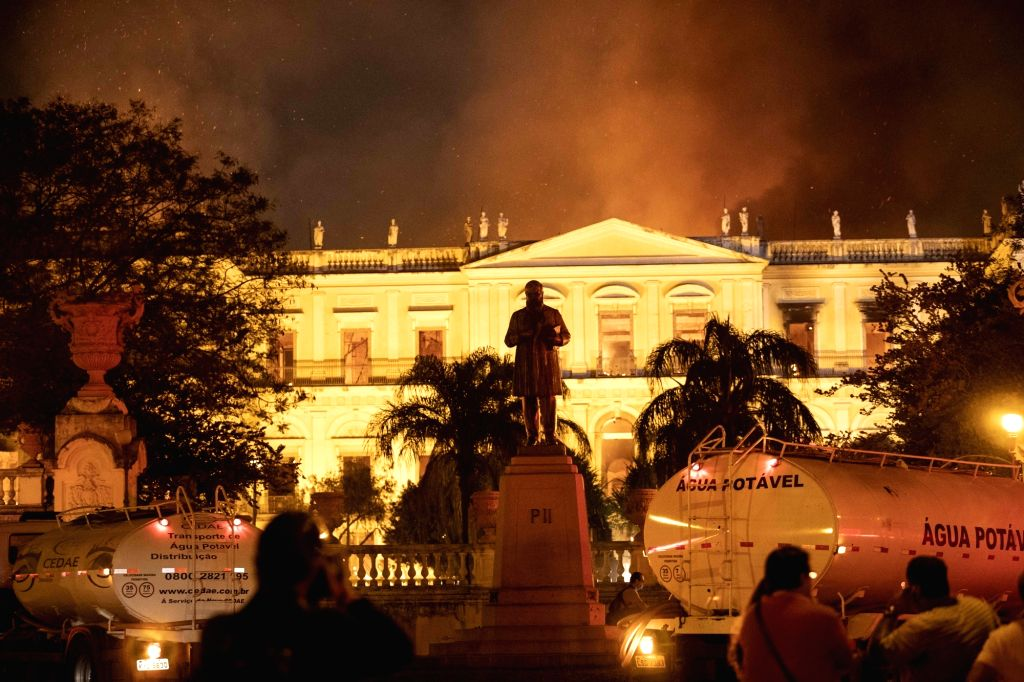 RIO DE JANEIRO, Sept. 3, 2018 - Photo taken on Sept. 2, 2018 shows the burning National Museum of Brazil in Rio de Janeiro, Brazil. A massive fire on late Sunday raced through Brazil's 200-year-old ...