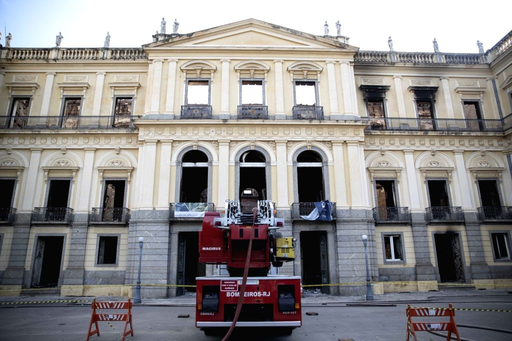RIO DE JANEIRO, Sept. 5, 2018 - A fire engine is seen outside Brazil's National Museum after a fire in Rio de Janeiro, Brazil, on Sept. 4, 2018. A fire Sunday night ravaged the 200-year-old museum ...