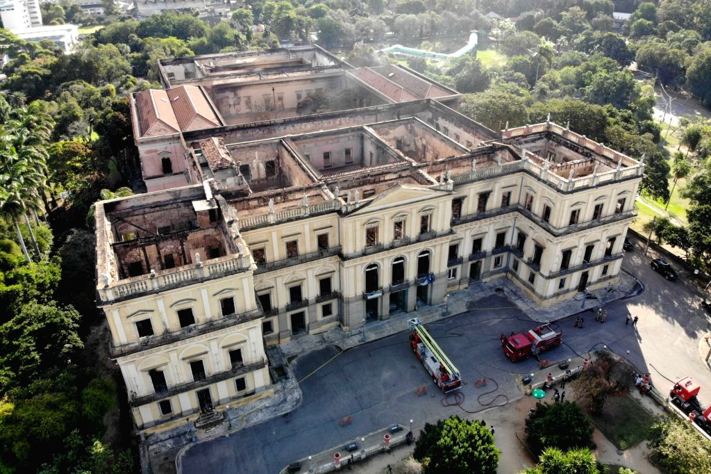 RIO DE JANEIRO, Sept. 5, 2018 - Photo taken on Sept. 4, 2018 shows Brazil's National Museum after a fire in Rio de Janeiro, Brazil. A fire Sunday night ravaged the 200-year-old museum and burned most ...