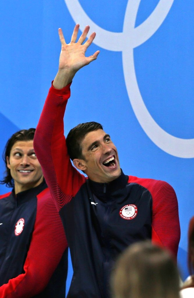 Rio De Janeiro: US swimmer Michael Phelps at Rio 2016 Olympics stadium in Rio de Janeiro, Brazil on Aug 14,2016.