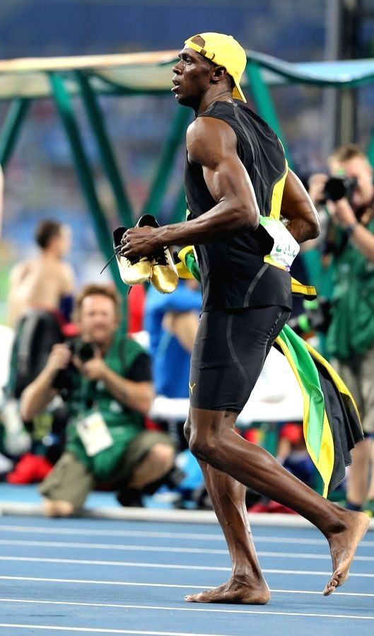 Rio de Janeiro: Usain Bolt of Jamaica after winning Men's 100m race at Rio 2016 Olympics in Rio de Jaaneiro, Brazil on Aug 14, 2016.