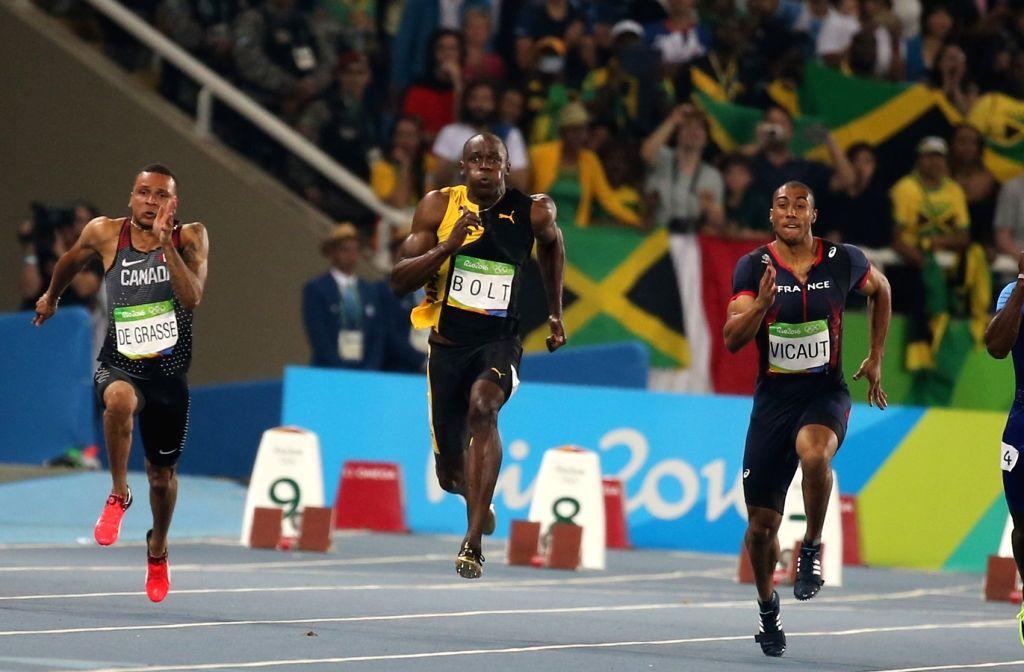 Rio de Janeiro: Usain Bolt of Jamaica in action during Men's 100m race at Rio 2016 Olympics in Rio de Jaaneiro, Brazil on Aug 14, 2016.