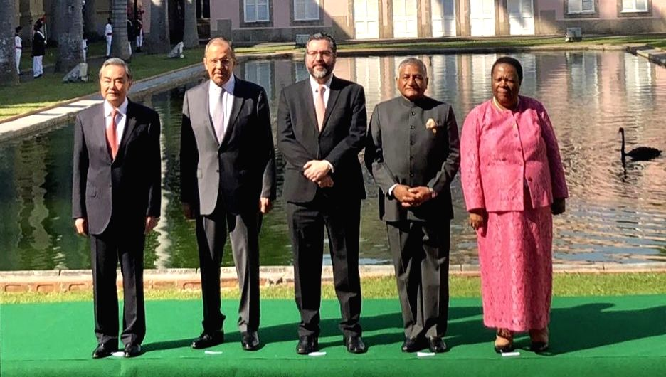 Rio de Janerio: Union MoS Road Transport and Highways V.K. Singh (Former Minister of State for External Affairs) with Foreign Ministers of China, Russia, Brazil and South Africa - Wang Yi, Sergei Lavrov, Ernesto Araujo and Naledi Pandor respectively, - K. Singh