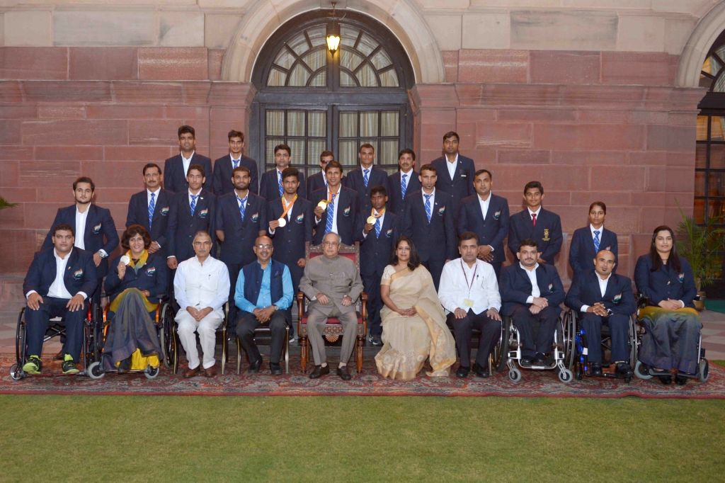 Rio Paralympian's meets President Pranab Mukherjee at Rashtrapati Bhavan in New Delhi on Sept 30, 2016. Also seen Union Minister of State for Youth Affairs and Sports (I/C), Water ... - Pranab Mukherjee