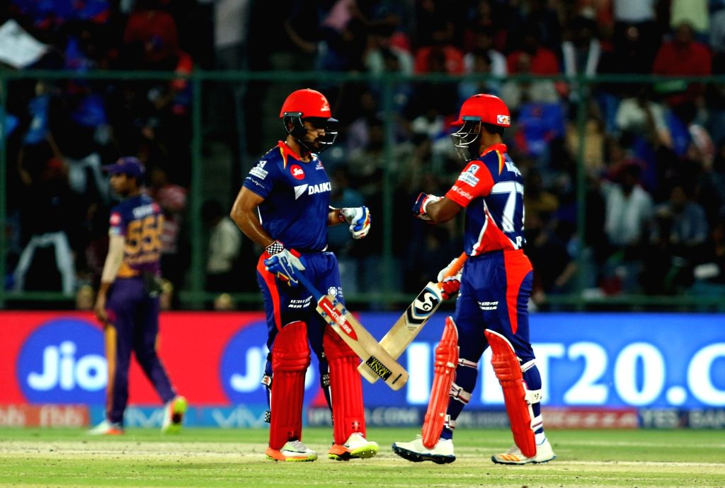 Rishabh Pant and Karun Nair of the Delhi Daredevils in action during the match between Delhi Daredevils and Rising Pune Supergiant held at the Feroz Shah Kotla Stadium in Delhi on May 12, ...