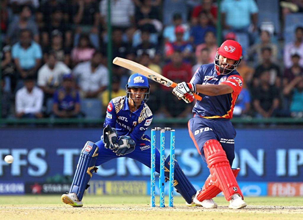Rishabh Pant of Delhi Daredevils in action during an IPL 2018 match between Delhi Daredevils and Mumbai Indians at Feroz Shah Kotla Stadium in New Delhi on May 20, 2018.