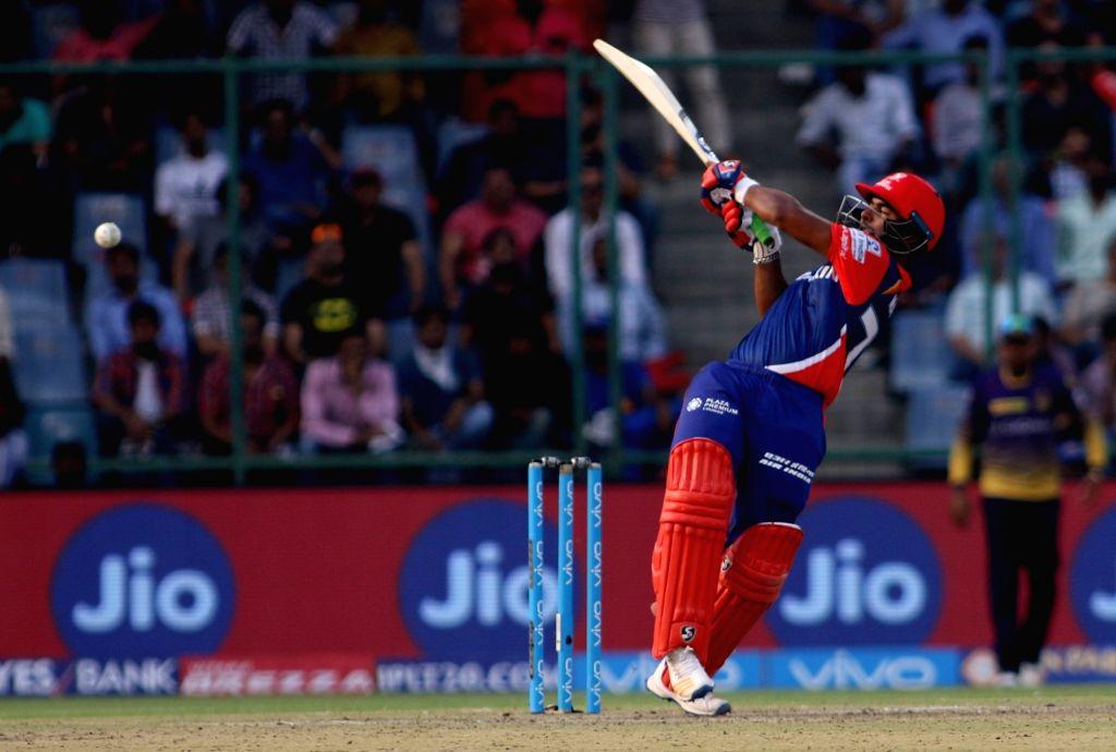 Rishabh Pant of Delhi Daredevils plays a shot during an IPL 2017 match between Delhi Daredevils and Kolkata Knight Riders at Feroz Shah Kotla in New Delhi on April 17. 2017. - Feroz Shah Kotla