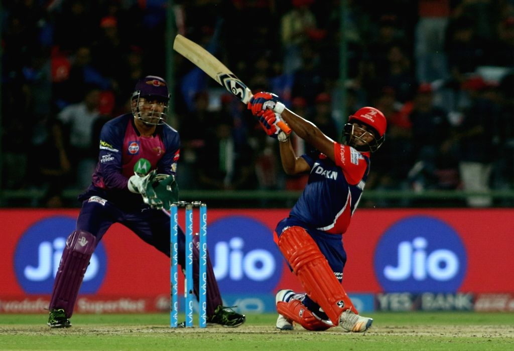 Rishabh Pant of the Delhi Daredevils in action during the match between the Delhi Daredevils and the Rising Pune Supergiant held at the Feroz Shah Kotla Stadium in Delhi on May 12, 2017.