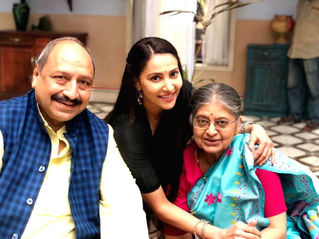 Rishina with Sudhir Pandey and Sulbha Arya. - Sudhir Pandey