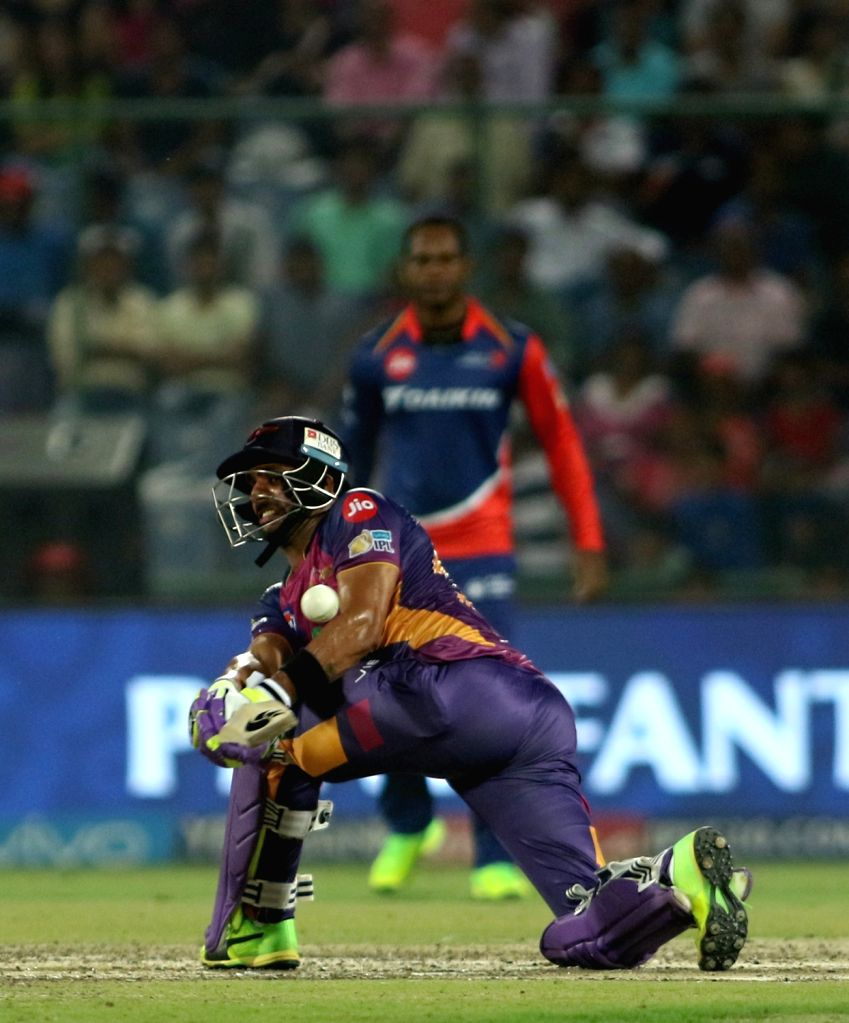 Rising Pune Supergiant batsman Manoj Tiwari in action during match between the Delhi Daredevils and the Rising Pune Supergiant held at the Feroz Shah Kotla Stadium in Delhi on May 12, ... - Manoj Tiwari