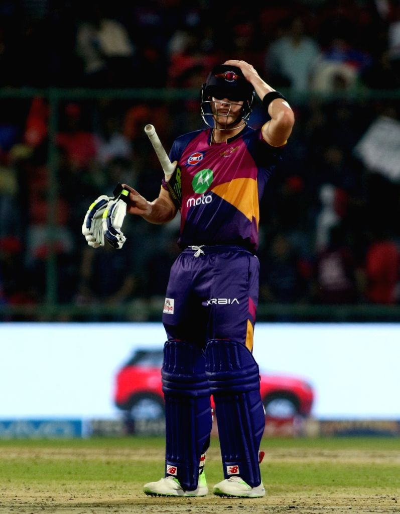 Rising Pune Supergiant captain Steven Smith during match between the Delhi Daredevils and the Rising Pune Supergiant held at the Feroz Shah Kotla Stadium in Delhi on May 12, 2017.. - Steven Smith