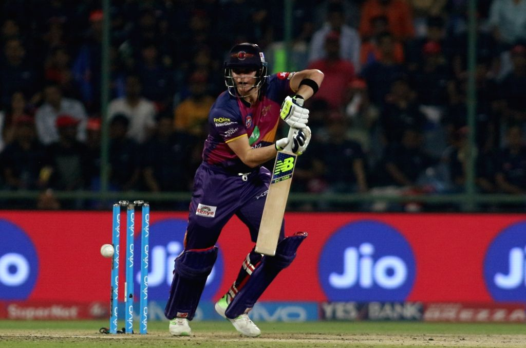 Rising Pune Supergiant captain Steven Smith bats during match between the Delhi Daredevils and the Rising Pune Supergiant held at the Feroz Shah Kotla Stadium in Delhi on May 12, 2017. - Steven Smith