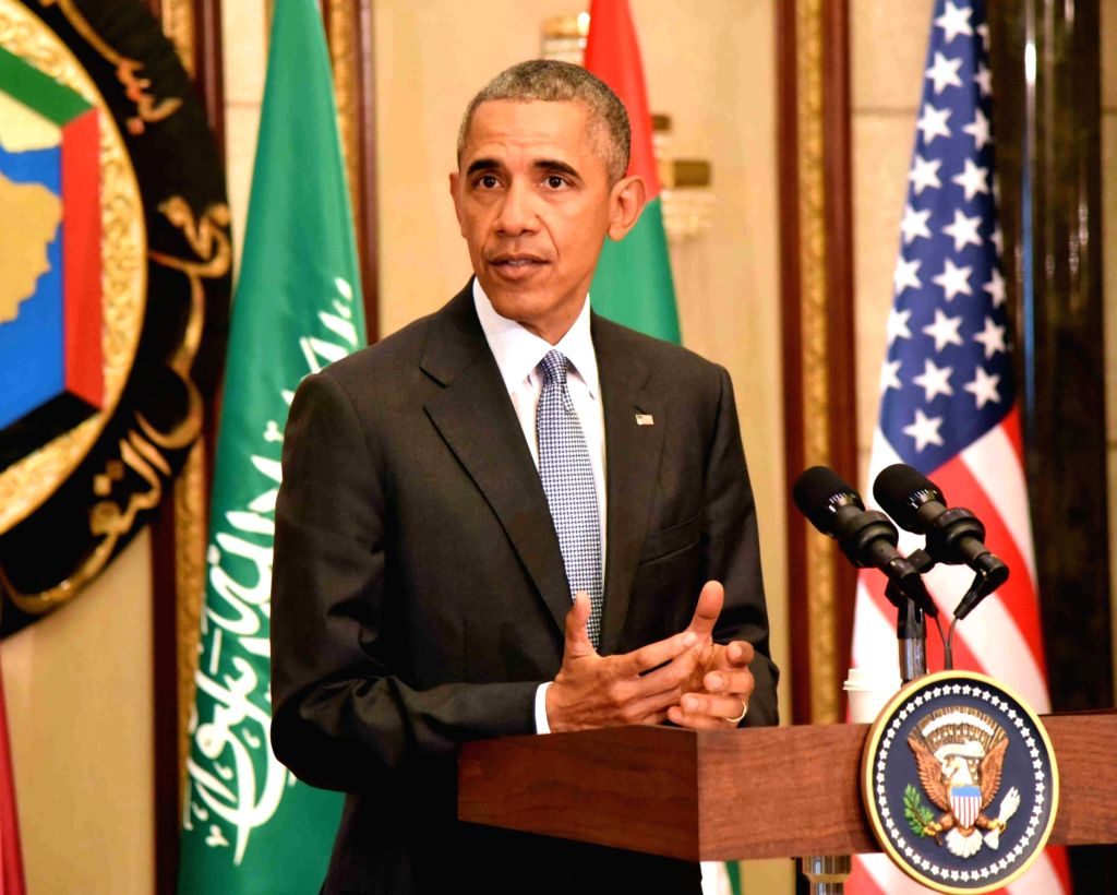 RIYADH, April 21, 2016 - U.S. President Barack Obama attends a press conference in Riyadh, Saudi Arabia on April 21, 2016. U.S. President Barack Obama met Thursday in Riyadh with leaders of the Gulf ...