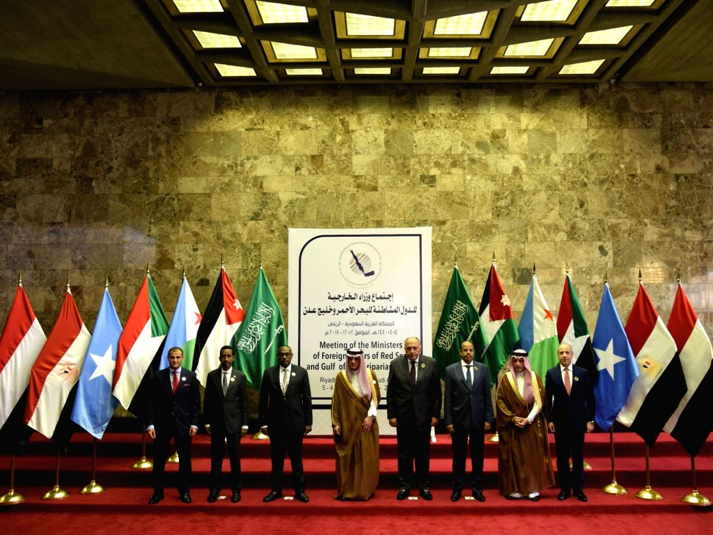 RIYADH, Dec. 13, 2018 - Ministers of Foreign Affairs of Red Sea and Gulf of Aden riparian states took a group photo at the meeting on Dec. 12, 2018, in Riyadh, Saudi Arabia. Saudi Arabia announced on ...